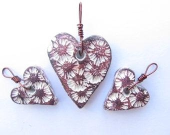 Heart Pendant & Earrings Mauve Ceramic