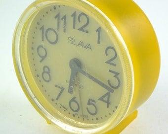 WORKING !!!  Vintage Russian Mechanical Alarm Clock Slava from Soviet Union Period Yellow, CCCP