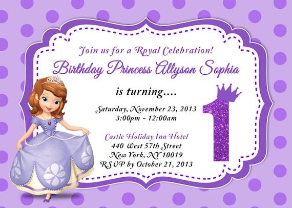 Custom photo invitations sofia the first birthday invitation like this item solutioingenieria Images