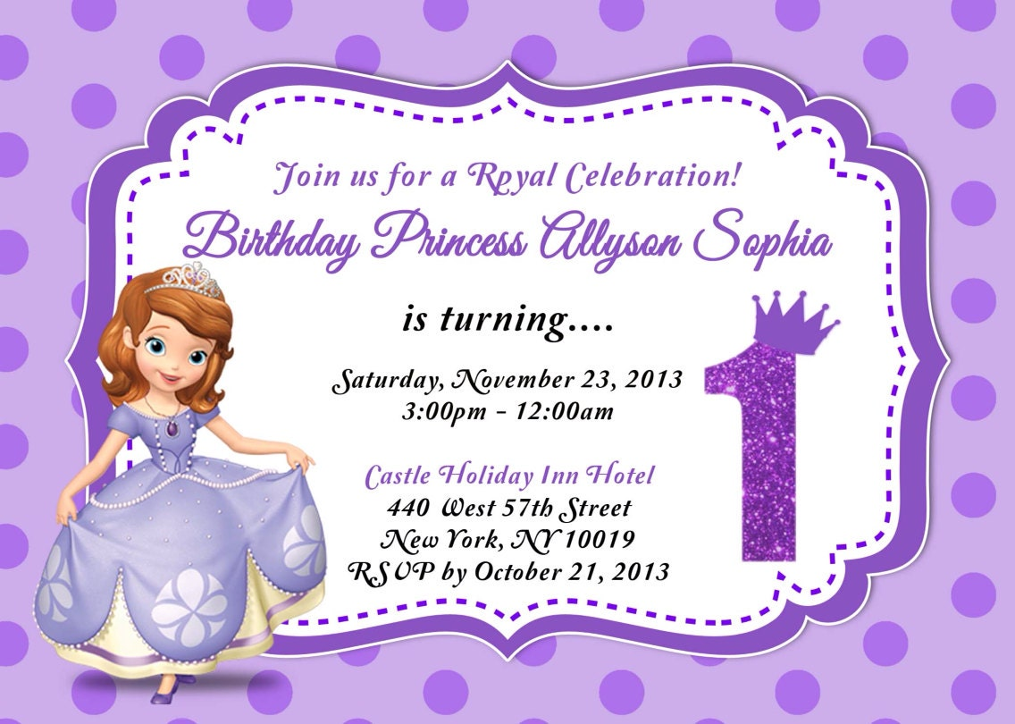 CUSTOM PHOTO Invitations Sofia The First Birthday Invitation - Birthday invitation template sofia the first