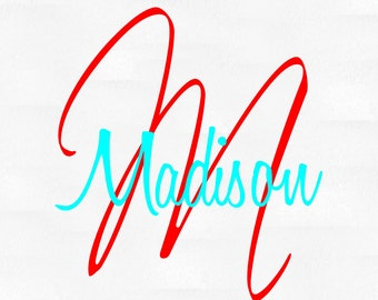 Personalized monogram name vinyl wall decal