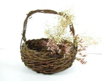 Basket,vintage vine basket, wicker basket, handmade basket, round basket, medium basket, grapevine,,