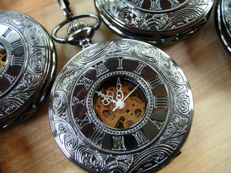 pocket with chain gunmetal black by pocketwatchpurveyor