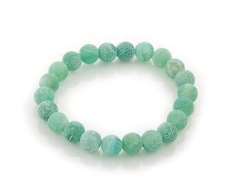 "elastic bracelet emerald green ""fire"" matte agate 8mm   beads | stretch beaded bracelet semi precious stones"