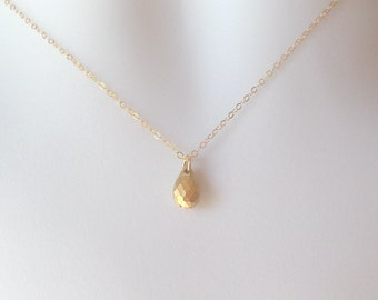 Gold Teardrop Necklace - Tiny Gold Drop Necklace - Teardrop Necklace, Gold Filled Necklace, bridesmaid gifts, yellow, Christmas Gift