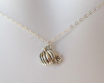 Silver Pumpkin Necklace - Sterling Silver and Silver Plated Brass Pumpkin Necklace - Charm Necklace - Fall Jewelry - Christms Gift