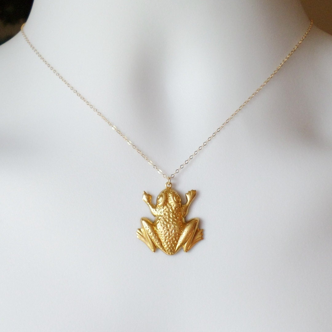 gold frog necklace frog necklace gold filled necklace