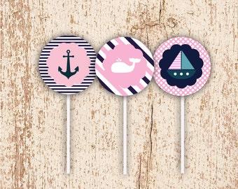 PRINTABLE Girls Nautical Theme - Cupcake Toppers