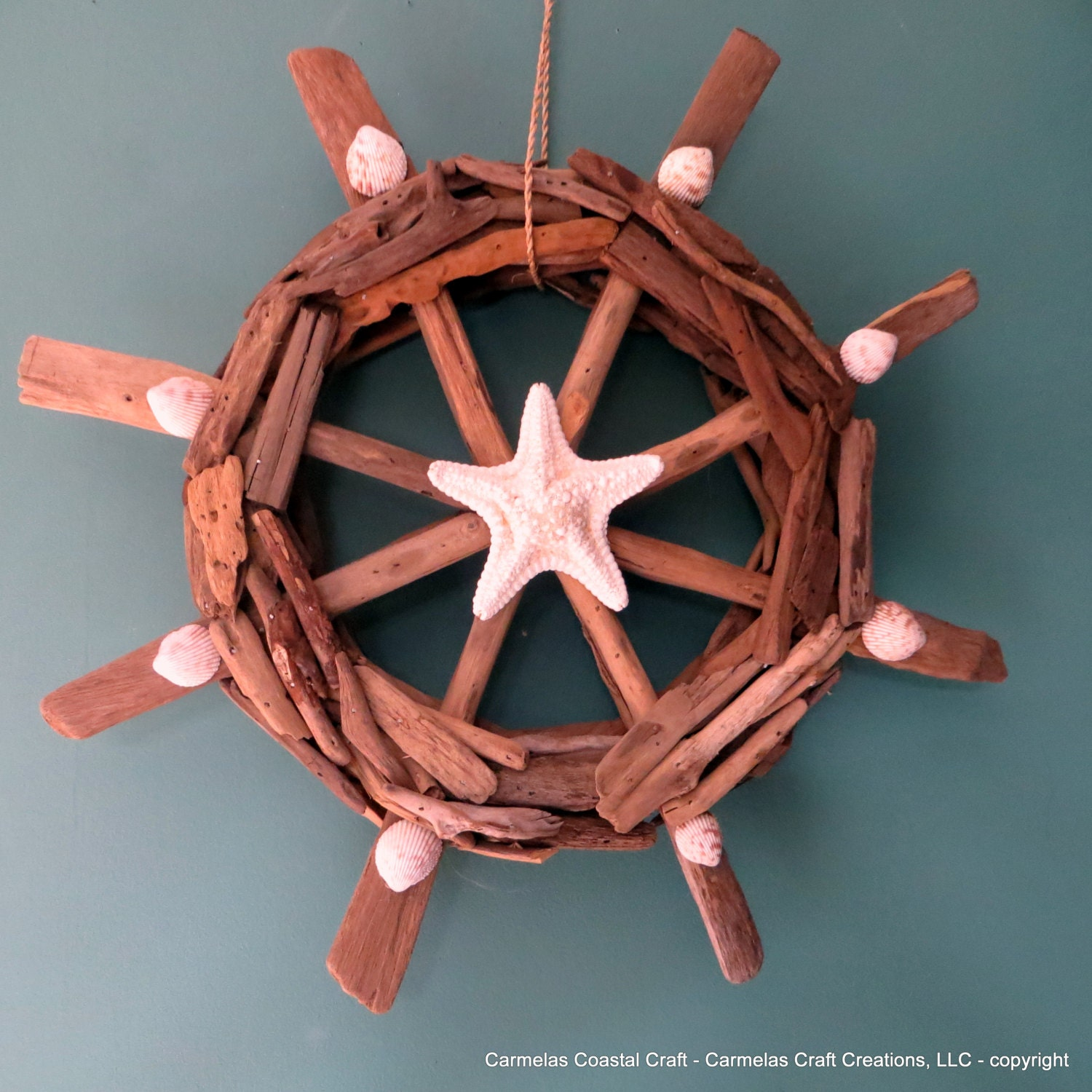 Nautical Wheel Decor: Drift Wood Beach Decor Ship Wheel With Starfish And