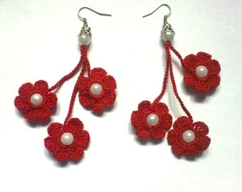 crochet earrings, crochet flower earrings, crochet jewelry, red flowers