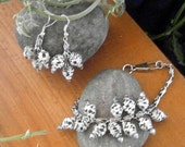 Eco-friendly Bracelet and Earring set, Black and White spots, recycled, upcycled, eco-friendly