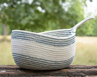 White & Blue Cotton Sash Cord Basket