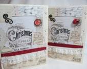 Handmade Card - Christmas Card - Vintage Style Card - Victorian Flair - Black and Ivory - Blank Card - Red Accent - PrettyByrdDesigns
