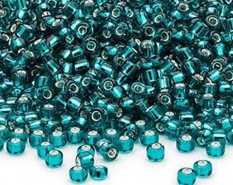 Teal Blue Silver Lined No 8 Seed Beads Glass 40 gms