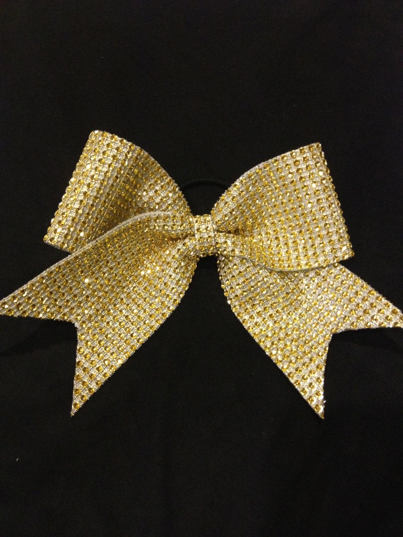 Gold Rhinestone Cheer Bow