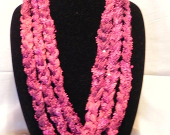 Fushia Chunky Crochet Chain Scarf/Necklace with Sequins