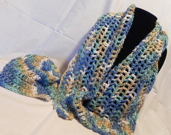 Blue and Tan Varigated Crochet Scarf  and Hat