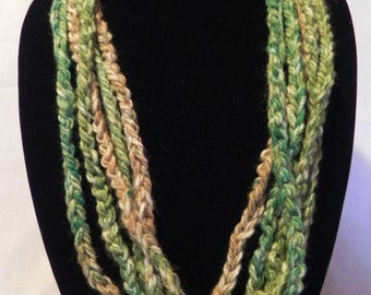Green, Teal, and Tan Varigated Crochet Chain Scarf Necklace