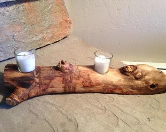 Aspen Log Candle Runner - Wooden Votive Candle Runner