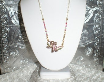 Beautiful Petite pink and green Rhinestone Bow Brooch Necklace