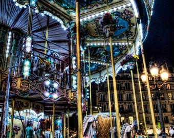 Paris Photography, Paris Art, Art, photography, Digital Art, Paris, France, Carousel, Carousel at Night,, Wall Art, Decor, Art,, Paris