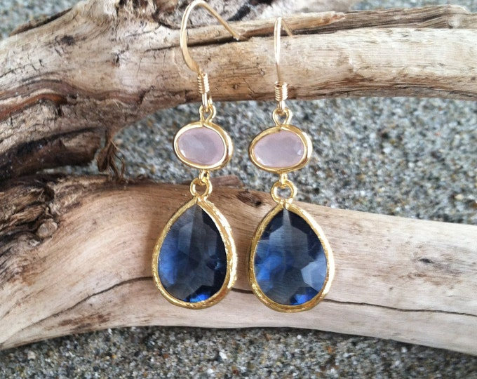 Bezel Set, Drop Earring, Faceted Pink and Blue Stone, Gold Fill Ear Wire