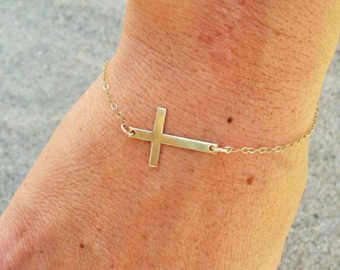 Gold Cross Bracelet, Gold Fill Chain, Cross bracelet