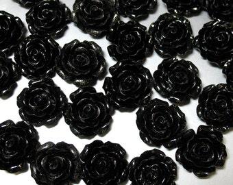 6 Black Resin Flower Cabochons, 20 mm - Item 53683