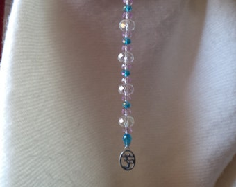 Suncatcher with Om charm and Large Crystal Beads