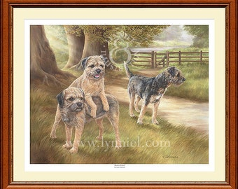BORDER TERRIERS limited edition fine art dog print 'Border Patrol'