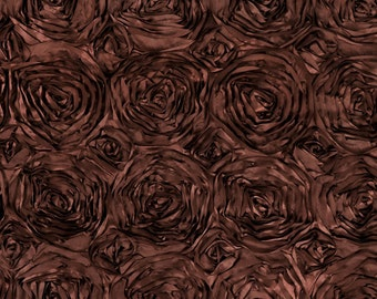 """Brown 60"""" Wide Premium Satin Rosette Ribbon Fabric By The Yard 4015"""