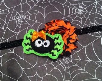 Halloween Headband - Felt Spider - Orange, Black Shabby Chiffon  - Black Glitter Headband