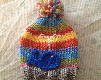 Cute Baby Hat with Whale, Stripes and a Colorful Pompom