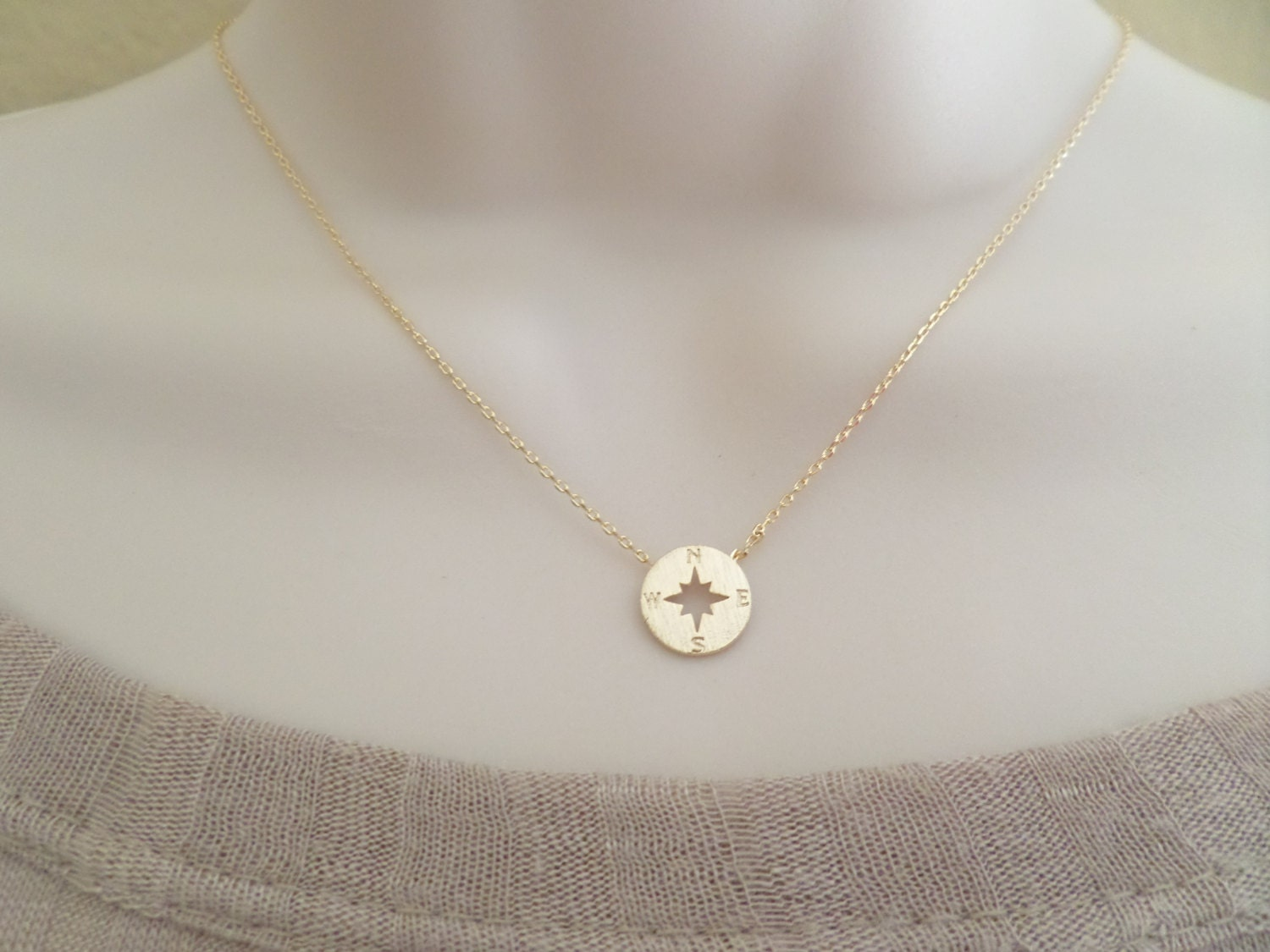 tiny gold compass necklace gold circle disk necklace compass
