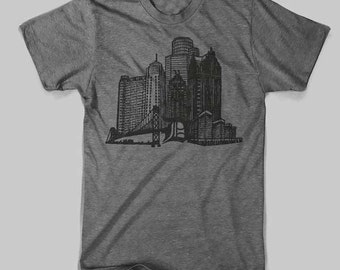 Detroit Stand Tall Triblend Grey American Apparel
