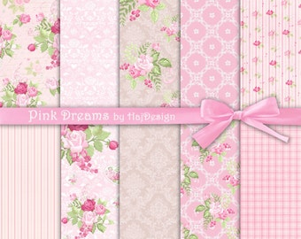 "Pink digital paper - ""PINK DREAMS"" Digital scrapbook paper, pink patterns, decoupage paper, floral paper with pink roses, shabby shic paper"