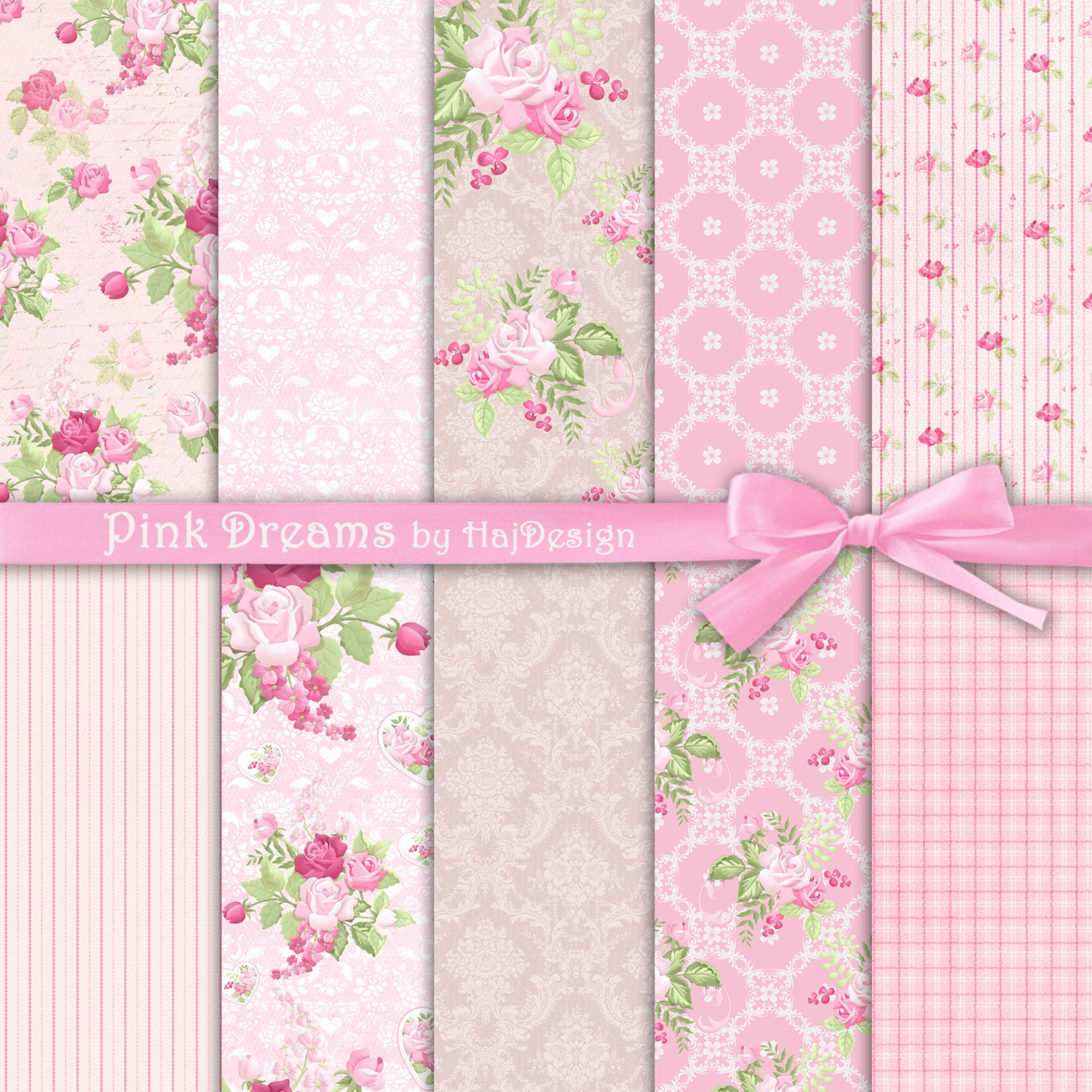 Pink Digital Paper PINK DREAMS Digital Scrapbook