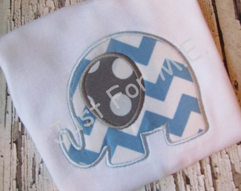 Baby Boys Personalized Elephant Applique Bodysuit- Great Baby Gift  FREE MONOGRAM