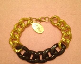"""Chunky Black & Gold Linked Bracelet """"Ebony"""""""