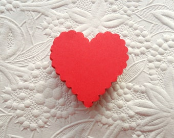25 Red Scallop Heart Die Cuts or Gift Tags-Favor Tags-Hang Tags-Wedding Tags-Shower Tags--Heart Die Cuts-Valentine's Day Tags