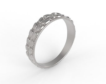 14ct White gold, wedding band Wheat