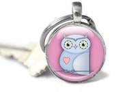 Owl Keyring, pink blue Cartoon Owl Key chain gift, gift for owl lover glass, Cute Owl accessories, owl animal keyring, animal lover gift