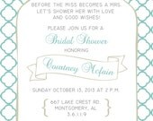 Printable Custom Personalized Bridal Shower Invitation, Baby or Wedding Shower, Miss becomes Mrs., Cute, Fun