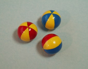 3 Beach Balls in Bright Colours - 1:12 Scale Dollhouse Miniatures, Red, Blue and Yellow Stripes, Beach, Garden, Toy Shop, Vacation or Circus