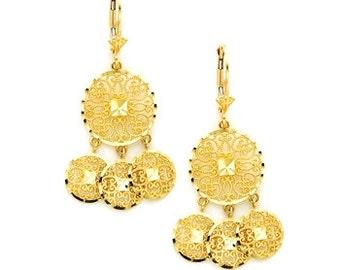 14k Gypsy Earrings, Gold Gypsy Earrings, 14k Gypsy Filigree Earrings, Gold Gypsy Filigree Earrings, Filigree Earrings, Gypsy Earrings