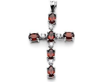Sterling Silver Cross Pendant w/ CZ and Garnet, Cross Pendant, Sterling Silver, Cross w/ CZ and Garnet, CZ, Garnet, Cross, Religion, Jesus