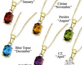 Birthstone, Birthstone pendant, birthstone necklace, 14k birthstone pendant, Birthstone jewelry, Color stone jewelry, dainty jewelry