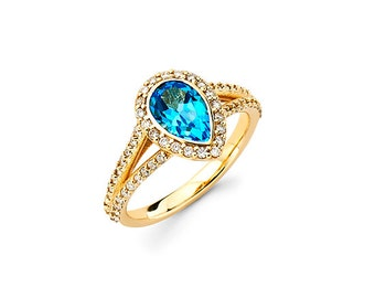 14K Fashion Ring, Gold Fashion Ring, Blue Topaz Ring, Diamond Ring, Fancy Ring, Cocktail Ring, Promise Ring, Birthstone ring, December Ring