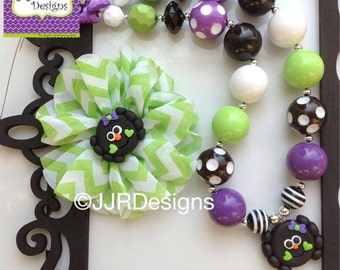 Cute Spider Necklace Set-Halloween Chunky Necklace- Spider Bubble Gum- Spider-Halloween