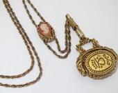 Vintage GOLDETTE Victorian-Inspired Gold-Tone Cameo Slide Fob Seal Charm Necklace